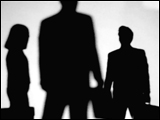 Video Clip - Human figures depicted in black in front of a white background; holding brief cases