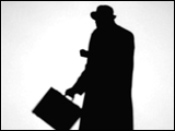 Video Clip - Human figures depicted in black in front of a white background; man with a hat, brief case walking away looking at his watch
