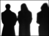 Video Clip - Human figures depicted in black in front of a white background; people chatting in a group